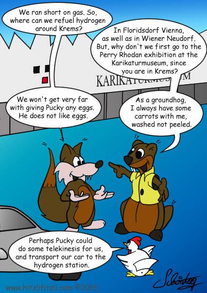 Hydrochan-Groundhog-Hitzlifitzli-Fox-Chicken-Perry-Rhodan-Exhibition-Pucky-Karikaturmuseum-Krems-Energytours-Imagefiguren