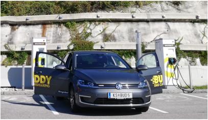 VW eGolf ID3_buddy carsharing birngruber_mortimer schulz solutions hydrochan_KS BUD5_knoten steinhäusl smatrics ccs omv ladesäule charging station