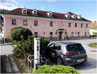 VW eGolf ID3_buddy carsharing birngruber_mortimer schulz solutions hydrochan_hotel das 3033 steinberger altlengbach hauptstrasse 52_ladesäule evn charging station