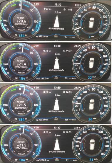 VW eGolf ID3_buddy carsharing birngruber_mortimer schulz solutions hydrochan_tacho beschleunigung charge power verbrauch trip