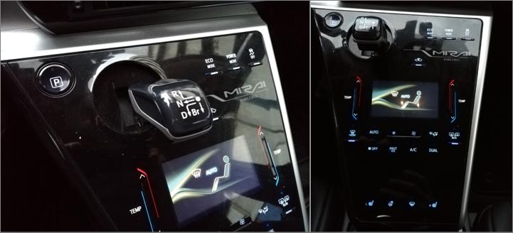 Toyota Mirai Fuel Cell Wasserstoff H2_Mittelkonsole Schaltknüppel Klimaanlage poliert_Mortimer Hydrochan Schulz