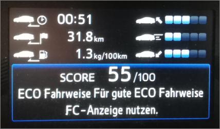 Toyota Mirai Fuel Cell Wasserstoff H2_mortimer hydrochan schulz_armaturen_bordcomputer bildschirm eco fahrweise